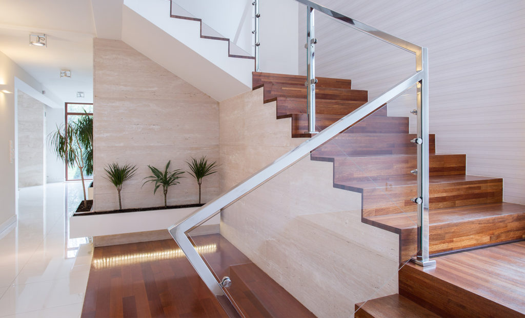 Balustrades and glazing on staircase