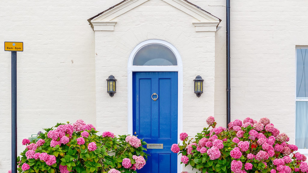 porch with a blue door