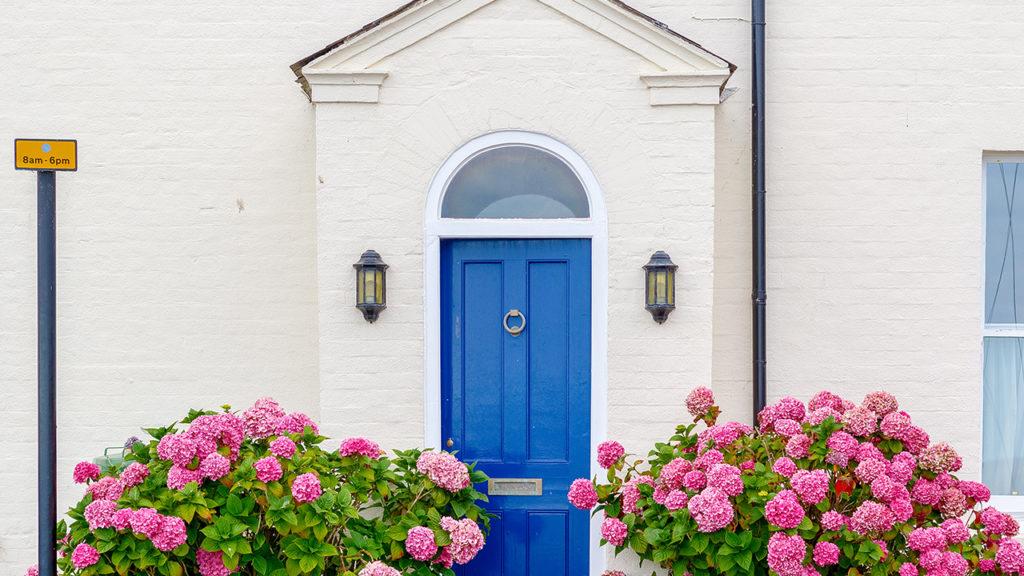 porch with a blue door