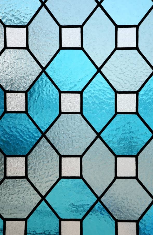 stained glass lead work blue glass